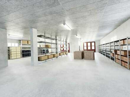 Große Halle mit Büroräumen & zusätzliches Lager im Untergeschoss