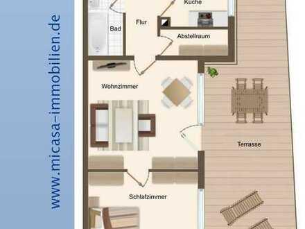 !! Leerstehend !! 2-Zimmer ETW mit grosser Terrasse - Angenehme Wohnlage, schön und preiswert !!