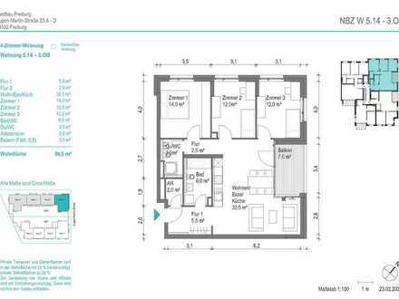 NEUBAU! Schöne 4-Zimmer-Wohnung (NBZ5.14) mit Balkon