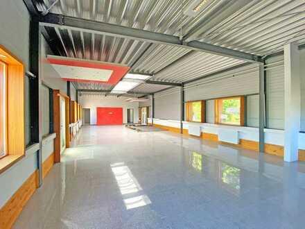 Repräsentative Gewerbehalle mit großem Grundstück in zentraler Lage des Dettinger Gewerbegebiets.