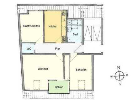 3-Zimmer Wohnung im DG mit Süd-Balkon, Nichtraucher-Wohnung