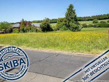 Großes, fast ebenes Grundstück in ruhiger Lage am Ortsrand mit Aussicht ins Grüne