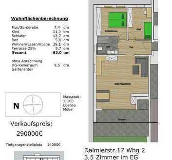 Neubauwohnungen 3 Zimmer, 83qm Bezugsfertig 30.9.2020