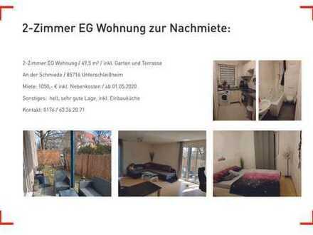 Traumhafte EG-Wohnung mit zwei Zimmern sowie Terasse und EBK in Unterschleißheim