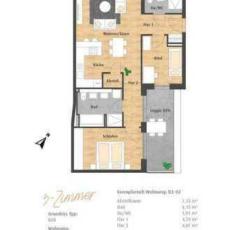 Moderne 3-Zimmer-EG-Wohnung mit Terrasse im Hatz-Areal - Das Tor zur Innenstadt