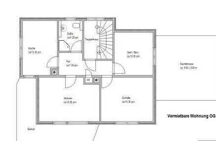 Gepflegte 3-Zimmer-Wohnung mit grosser Dachterrrasse & Balkon in Sankt Georgen im Schwarzwald