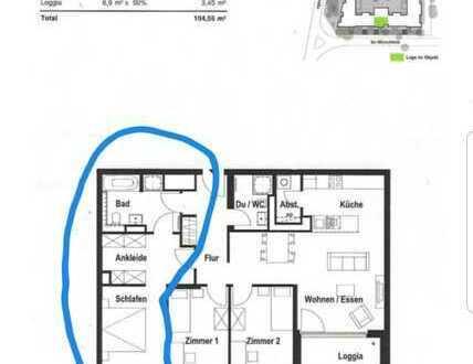 1,5 Zimmer mit eigenem Bad (Badewanne und Dusche) in 2er WG (Neubauwohnung)