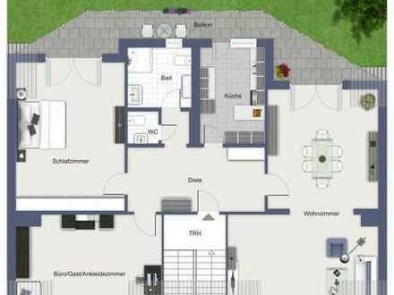 3-Zimmer-Dachgeschosswohnung mit Duschbad,Gäste-WC,EBK,Balkon in Südausrichtung und Garage