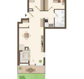 Stilvolle, helle und vollständig renovierte 3-Zimmer-EG-Wohnung mit EBK in Darmstadt-Eberstadt