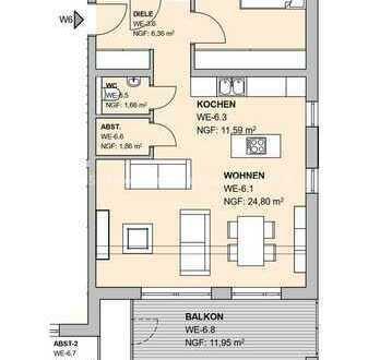 KFW 55 Wohnung im Obergeschoss