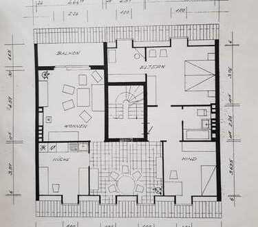 Vermiete 4,5 Zimmer DG Wohnung, Emden, Fußgängerzone, Südbalkon