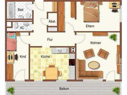 Großzügige 3 ZKB Wohnung mit 88 m2 u. Abstellkammer und sep. WC