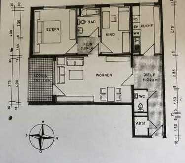 Großzügig geschnittene 3 Zimmer Wohnung 86qm