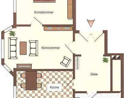 Ruhige, gepflegte Wohnung (2-Zi Kü Bad Flur) in guter, verkehrsgünstiger Lage zur Miete in Bielefeld