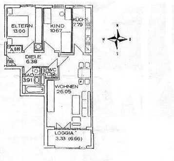 Gepflegte 3-Zimmer-Wohnung mit Einbauküche in Augsburg