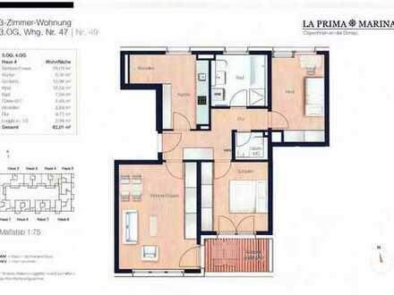 Neubau!! Tolle 3- Zimmer Wohnung (3. OG) im Marina Quartier- Ostenviertel