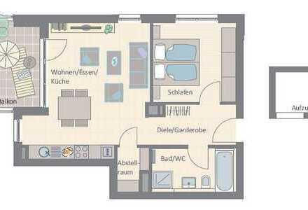 2-Zimmer-Wohnung mit großem Westbalkon für Singles oder Pärchen