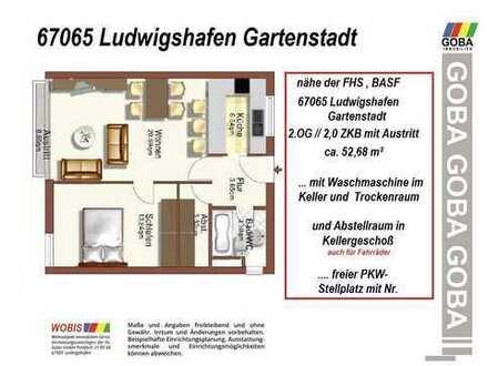 Lu-Gartenstadt ab 1.4.20 od. früher/später - 2,0 ZKB 52 m²- renov. m. EBK Single/Paar Nähe FHS,BASF