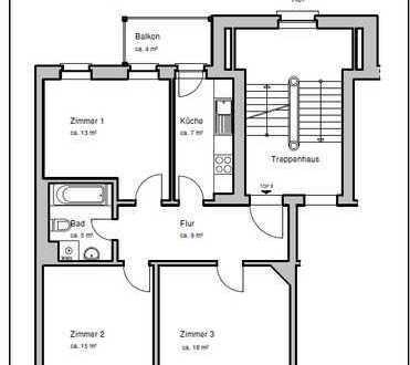Gut geschnittene Wohnung für Familien, Pärchen und WG`s! *Fußbodenheizung & Wannenbad & Balkon*