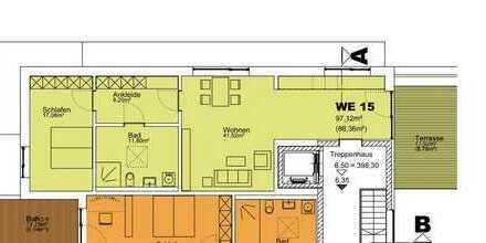 Wohnung mit Dachterrasse, 2.OG, 88,36 m² - WE 15 (KfW 40)
