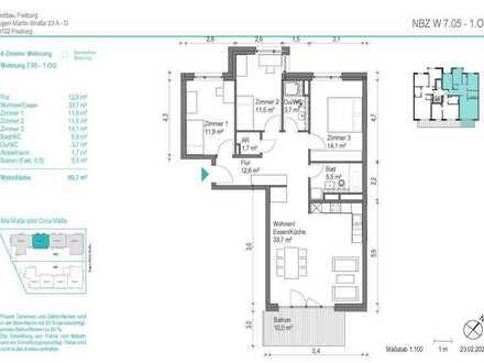 NEUBAU! Schöne 4 Zimmer-Wohnung (NBZ 7.05) mit Balkon zum begrünten Innenhof