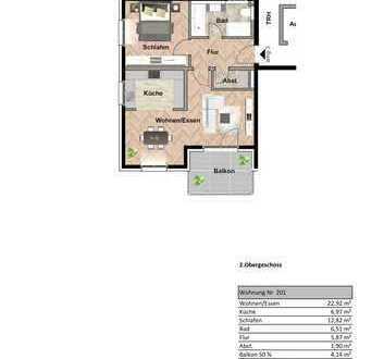 Helle 2,5 Zimmer Wohnung mit Aussicht 2.OG