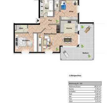Helle 3,5 Zimmerwohnung mit Aussicht 1.OG