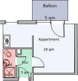 Exklusive, gepflegte 1-Zimmer-Wohnung mit Balkon in Dortmund