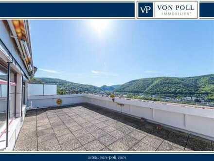 Sonnige Terrassenwohnung mit fantastischem Ausblick über das Lahntal