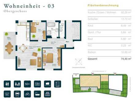 3 Zimmer Wohnung im Obergeschoss - WG 3
