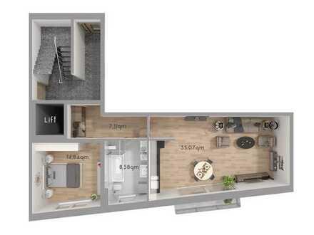 Offene, gemütliche 2,5 Zimmer Wohnung mit eigenem Garten