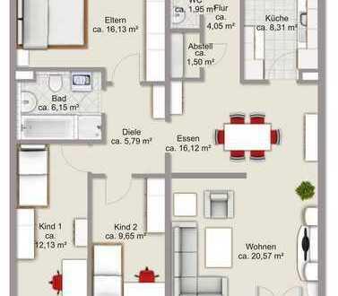 Renovierte 4-Zimmer-Wohnung mit Balkon und EBK in Mannheim-Wallstadt