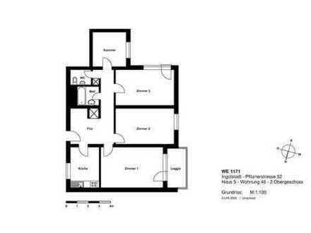 AUDI-nahe Whg., 3,5 Zimmer mit Loggia, Bad u. sep. WC
