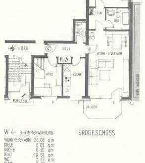 Schöne 3-Zimmer-Hochparterre-Wohnung mit Balkon in Krefeld