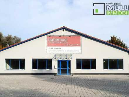 # 320 m² Produktions-, Ausstellungs-, Büro-,  Lagergebäude nahe A8 Ausfahrt Burgau zu vermieten #
