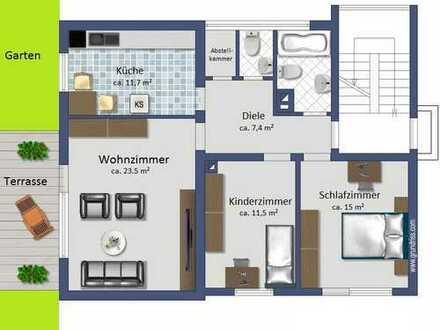 Gepflegte 3-Zimmer-Wohnung mit Terrasse und Gartennutzung in Ladenburgs bester Lage