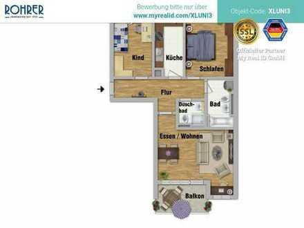 Au - Charmante 3-Zimmer-Wohnung mit Balkon, Küche, Bad/WC, Duschbad/WC, Flur, Kellerabteil