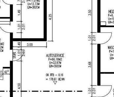 66 m² Service Halle (KFZ-Werkstatt oder Lagerfläche) neben Tankstelle zu vermieten