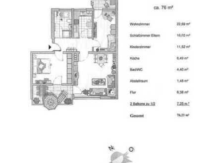 Gute geschnittene, gepflegte 3-Zimmer-Hochparterre-Wohnung mit 2 Balkonen in Krailling
