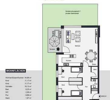 4- Zimmerwohnung mit Terrasse und Garten