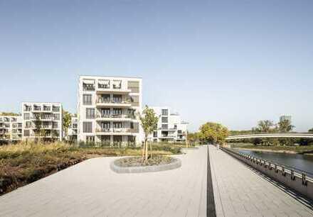 RUHIG WOHNEN: barrierefreies Zuhause mit riesiger Terrasse und Garten am Rheinkilometer423.