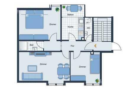 Nette 3-Zi.-Wohnung mit Balkon in Pforzheim-Südweststadt