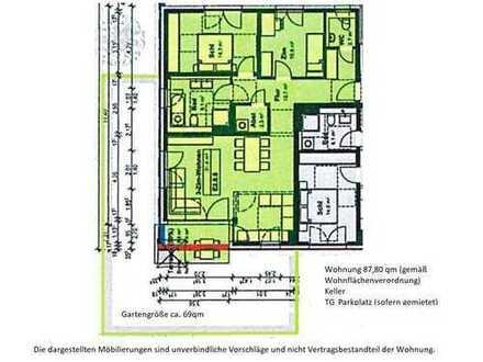 Erstbezug: exklusive 3,5-Zimmer-EG-Wohnung mit Einbauküche und Terrasse in Erlangen Innenstadt