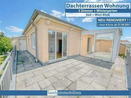 2 Zi. Dachterrassen-Wohnung mit Wintergarten, neue Küche, am Luitpoldpark, neu renoviert
