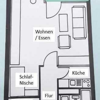 Gepflegte 1,5-Raum-Wohnung mit Balkon und Einbauküche in Erlangen