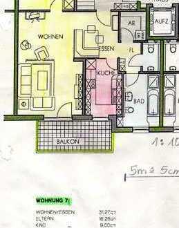 Gepflegte Wohnung mit drei Zimmern und Balkon in Hersbruck