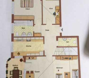 Modernisierte 5-Zimmer-Maisonette-Wohnung mit Balkon und Einbauküche in Wannweil
