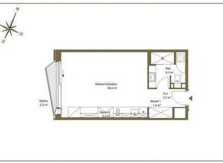 Exklusive, geräumige 1-Zimmer-Wohnung mit Balkon und Einbauküche, Hamburg