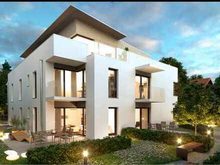 NEU! 2|3-Zimmer-Neubau-Gartenwohnung + großem Hobbyraum + schöner Terrasse + priv. Gartenanteil.