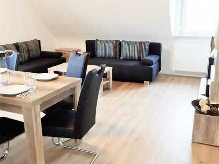 fully furnished 4-room apartment with wifi, 3 bedrooms, living room, kitchen, bathroom, single beds